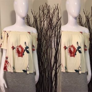 Wilfred floral knit off shoulder top Sz:small